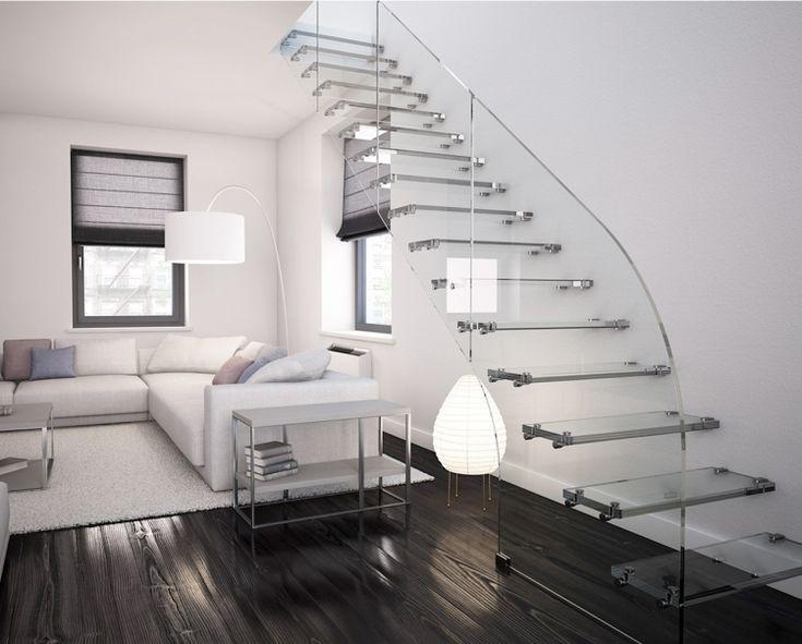 Treppe mit Glasstufen und Befestigung mit Bolzen aus Edelstahl