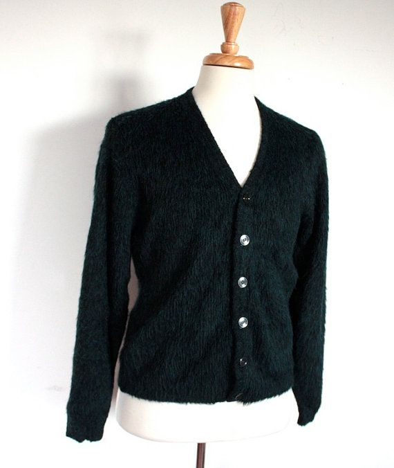 Vintage Mid Century Teal Green and Black Mohair Men's Cardigan Sweater on Etsy, $66.29 AUD