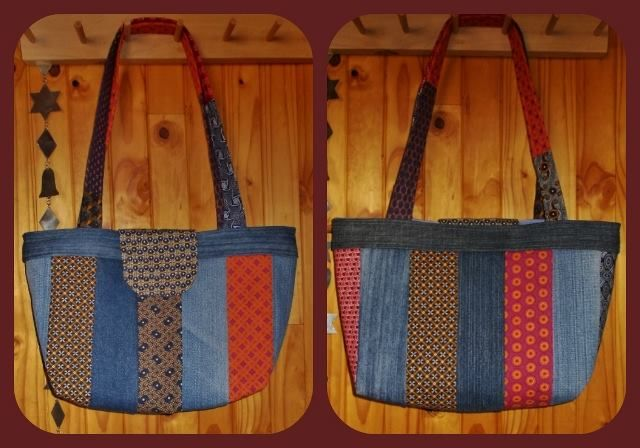 A Scrappy Tote or Scrappy Bag I made from strips recycled denim and strips ShweShwe.  See my Facebook page https://www.facebook.com/CarryGearBags/