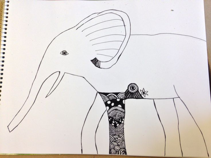 Zendoodle elephant in progress.