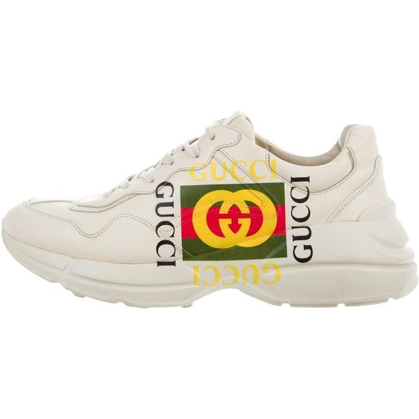 Pre-owned Gucci Rhyton Logo Leather Sneakers ($625) ❤ liked on Polyvore featuring men's fashion, men's shoes, men's sneakers, white, mens white leather shoes, mens sneakers, mens leather sneakers, gucci mens sneakers and mens leather lace up shoes
