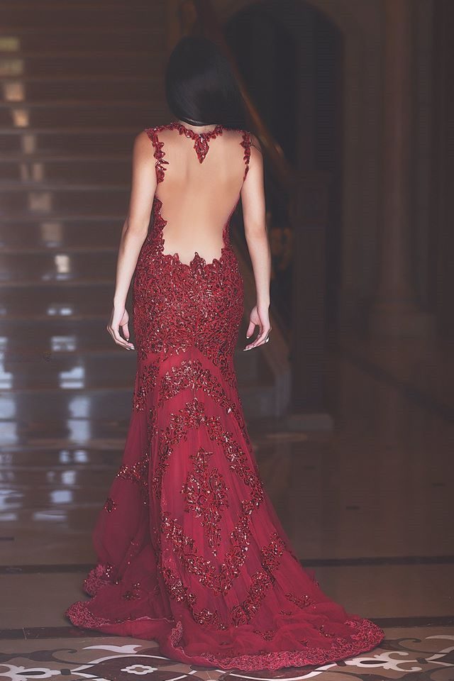 Glamorous Red Mermaid Sequins Prom Dress 2016 Appliques Sweep Train_High Quality Wedding & Evening Prom Dresses at Factory Price-27DRESS.COM