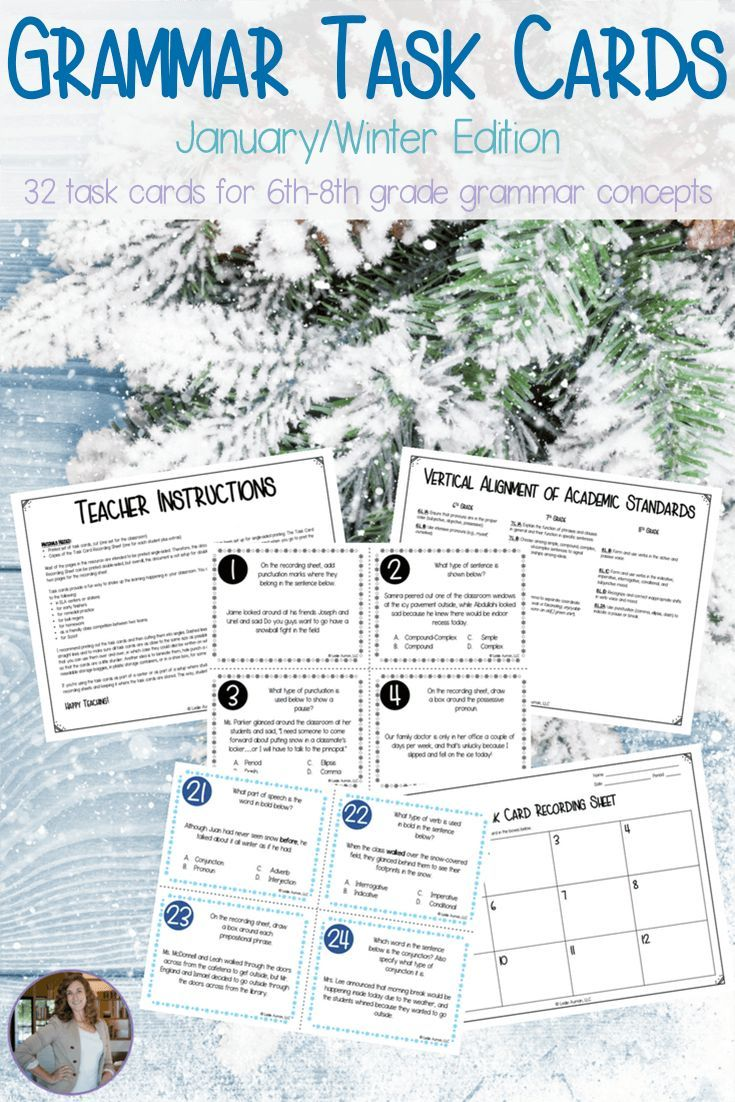 Make grammar review and practice more fun with these winter-themed task cards! This set is designed specifically for middle school ELA classrooms, and it's aligned to the CCSS. Use these grammar task cards in centers or stations, for early finisher work, for review, and more! Click through to read what all is included in this 6th grade to 8th grade resource. #grammar #taskcards #ELA #English #languagearts