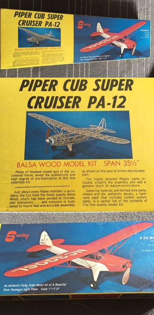 Aircraft Non-Military 1189: Sterling Models Balsa Wood Piper Cub Super Pa-12 Flying Model Plane Vintage..New -> BUY IT NOW ONLY: $35 on eBay!