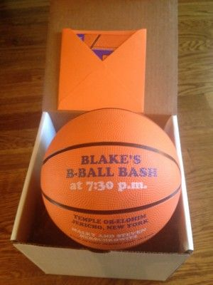 Each Bar Mitzvah guest received a box with an actual basketball invite!