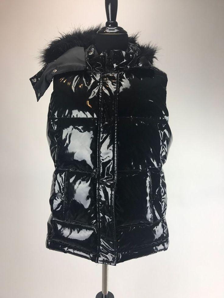 Michael Kors Women's MK Black Metallic Vest Puffer Outerwear Puff Down Sz L/G  | eBay