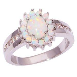 Jewelry - White Fire Opal Zircon Silver Ring Size 7