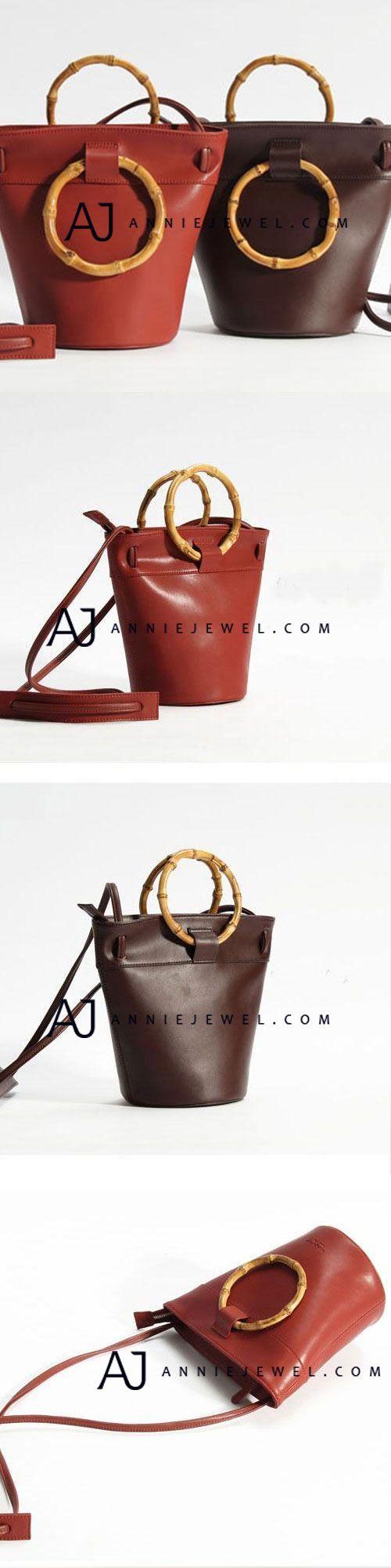 GENUINE LEATHER HANDMADE HANDBAG BAMBOO CROSSBODY BAG SHOULDER BAG PURSE CLUTCH FOR WOMEN