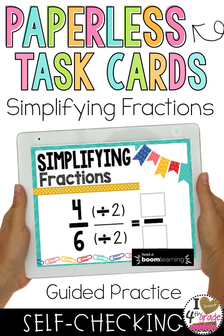 Simplifying Fractions | Teaching Fractions | fraction ideas | fraction math centers | 4th grade fractions | Equivalent Fractions | Do your students need help with learning how to simplify fractions?  This set of self checking digital task cards provides students with the guided practice they need to become successful. #simplifyfractions ($)