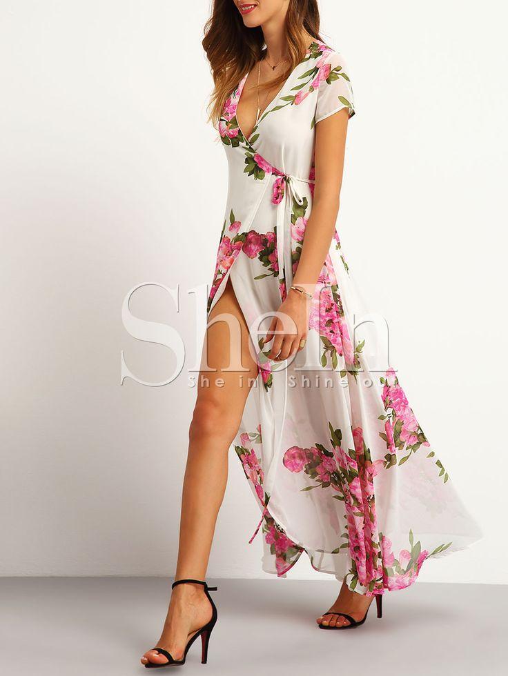 Vestido flores maxi-Sheinside