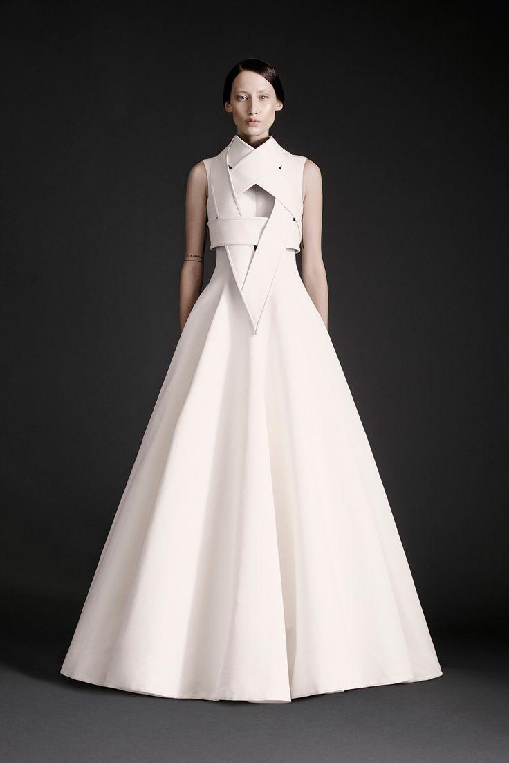 Dramatic white gown with sculptural bodice detail; futuristic fashion elegance // Gareth Pugh Spring 2015