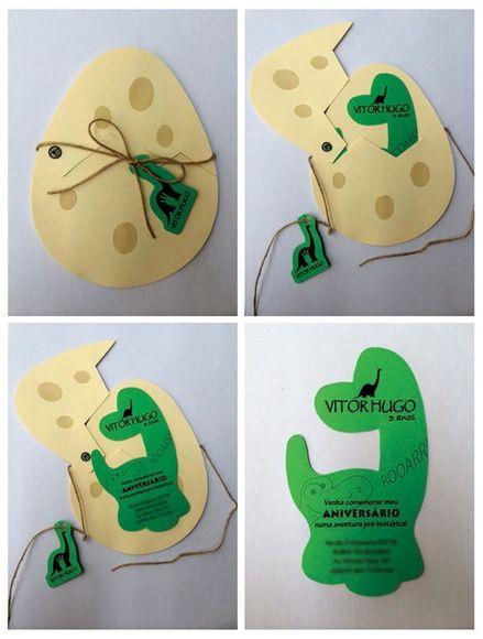 Convite personalizado, feito com papel especial Filipaper ou Canson, 180gr. Dimensões do convite: Ovo: tamanho 12,2 x 15,5cm Dino convite: tamanho 7,5 x 13cm