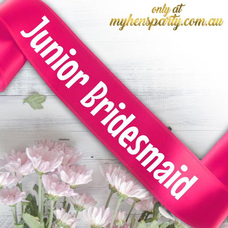 Junior BridesmaidPrintedSash Our stylishJunior Bridesmaid Printed Sashis the latest trend in wedding must haves! Made in-house at the My Hens Party Shop in Sydney we offer y...
