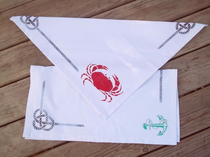 One of a kind handmade marine breeze tea towels from  Pergin Design.