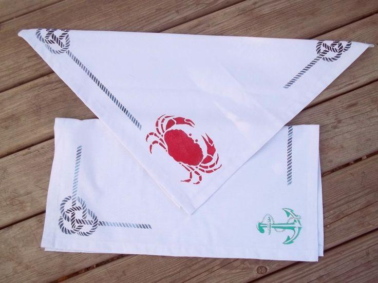 One of a kind handmade marine breeze tea towels from  Pergin Design.