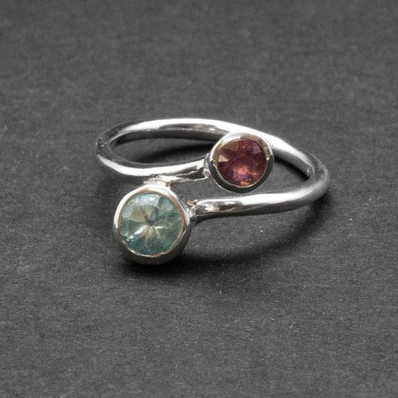 Twist Dual Stone Ring Blue Topaz Purple Amethyst by SunSanJewelry