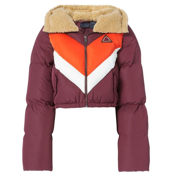 Puma X Fenty By Rihanna Quilted Chevron Burgundy Puffer Jacket ($500) ❤ liked on Polyvore featuring outerwear, jackets, red, quilted puffer jacket, puffer jacket, puma jackets, puff jacket and red puffy jacket