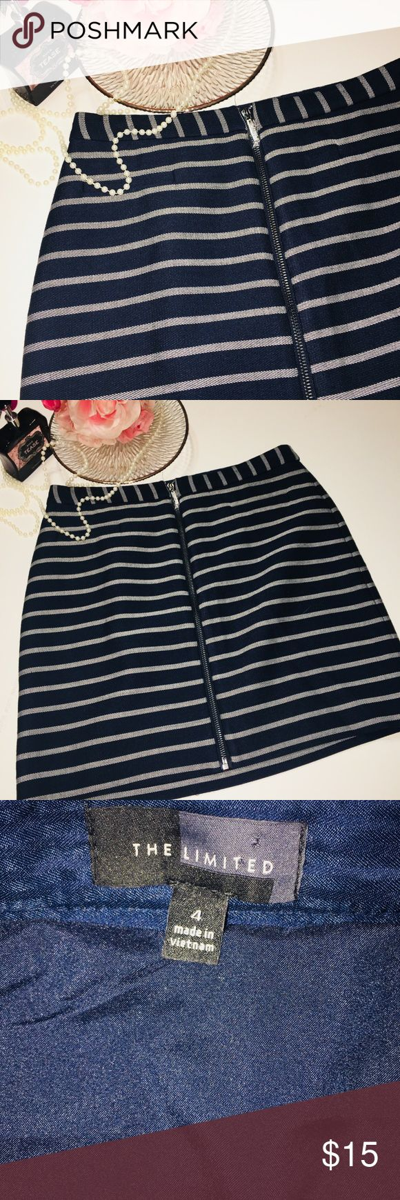 Navy Striped Skirt, The Limited Navy and cream Striped, and zipper detail On front. Photos show detail Of fabric and length. Pair with a cream blouse or different color to add a pop of color. EUC. The Limited Skirts Mini