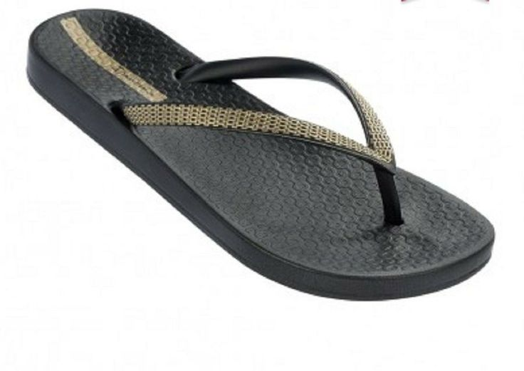 Ipanema Ana Metallic Flip Flops in Black and Gold at Pesca Boutique.  Metallic offers your