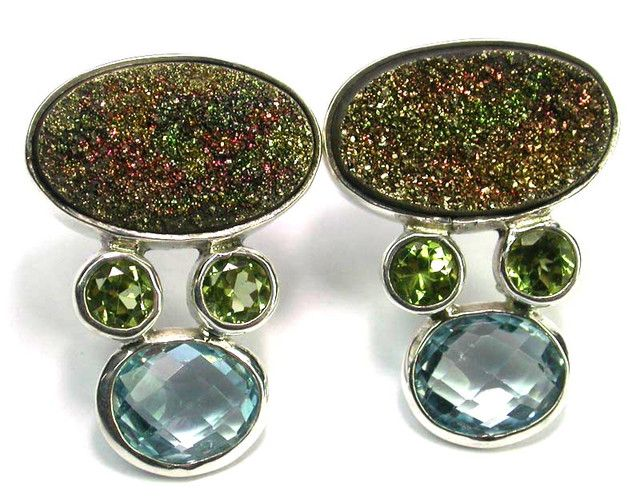 EARRING GEMSTONES-DIRECT FROM FACTORY 48.10 CTS [SJ1238]   multifire  gemstone earrings , gemstone silver earrings
