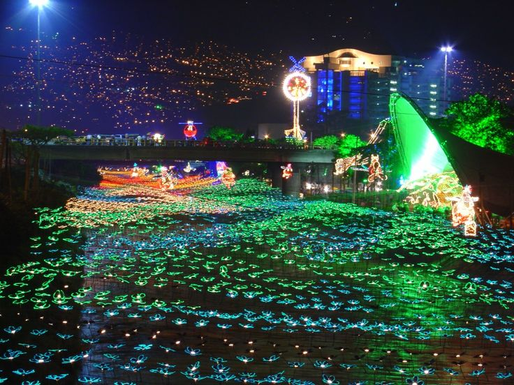 The holiday season in Medellin, Colombia is a special time of year when residents and tourists come together and enjoy the splendors of the holiday lights. The light displays deck the city's roads, natural features, and parks. The premier sites to witness the lights can be found on Avenue la Playa and the Medellin River.