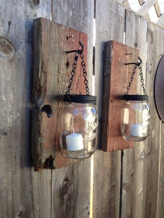 Barn Wood Decor Signs: Rustic Barn Wood Mason Jar Sconces