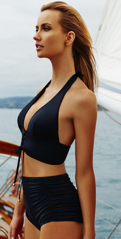 TD ❤️ ~ Vitamin A 2015 Eco Black Ava Bustier High Waisted Bikini