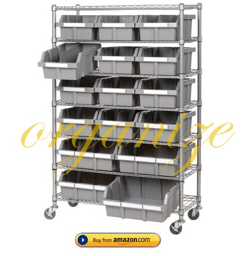 industrial shelf with baskets: Classics She16510, Commercial Bin, 7 Shelf Commercial, Garage, Seville Classics, Commercial 7 Shelf, Bin Rack, 7 Shelf Bin