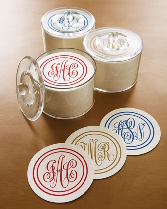 disposable monogrammed coasters...wrap these with a bottle of champagne for a great housewarming gift.