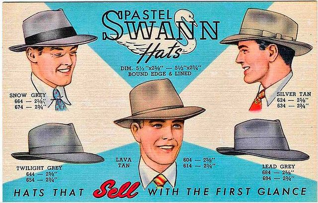 When Men Wore Hats    1940s linen postcard advertising Swann Hats.