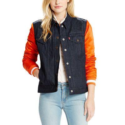 Women's Chicago Bears Levi's Navy Denim Varsity Jacket