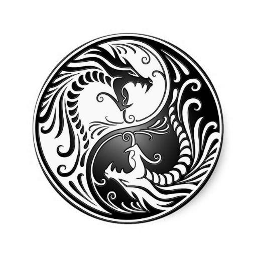 Dragons de Yin Yang Sticker Rond