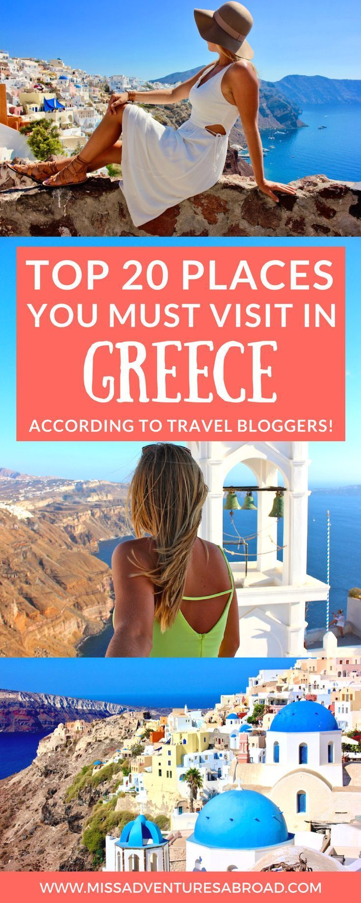 20 Stunning Destinations in Greece Travel Bloggers Love · Planning a trip to Greece but are unsure of where to go? There are so many places to travel to in Greece that it can be difficult to choose! This list includes travel bloggers' top 20 places to visit in Greece! Learn about popular island getaways like Santorini, Mykonos, Crete, Corfu, and Rhodes, as well as mainland destinations like Athens and Thessaloniki. You'll also find plenty of off the beaten trail suggestions! Happy travels!