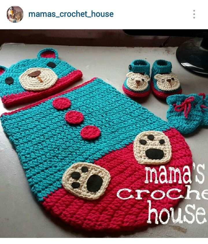 Instagram @mamas_crochet_house ~ crochet baby cocoon/beanie/booties & mittens ~ pic only