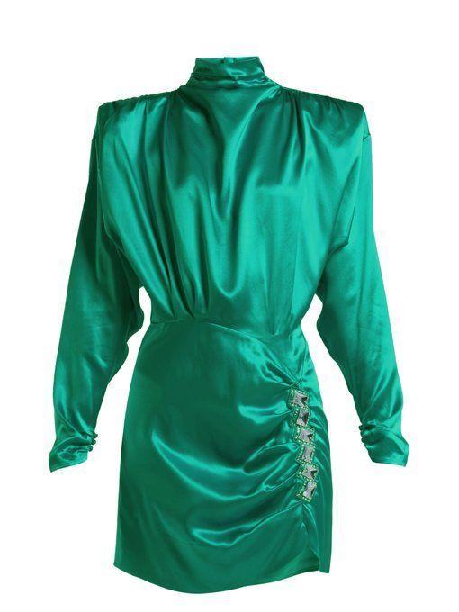 b1d44da8830 Alessandra Rich Crystal-Embellished Silk-Satin Mini Dress In Green ...