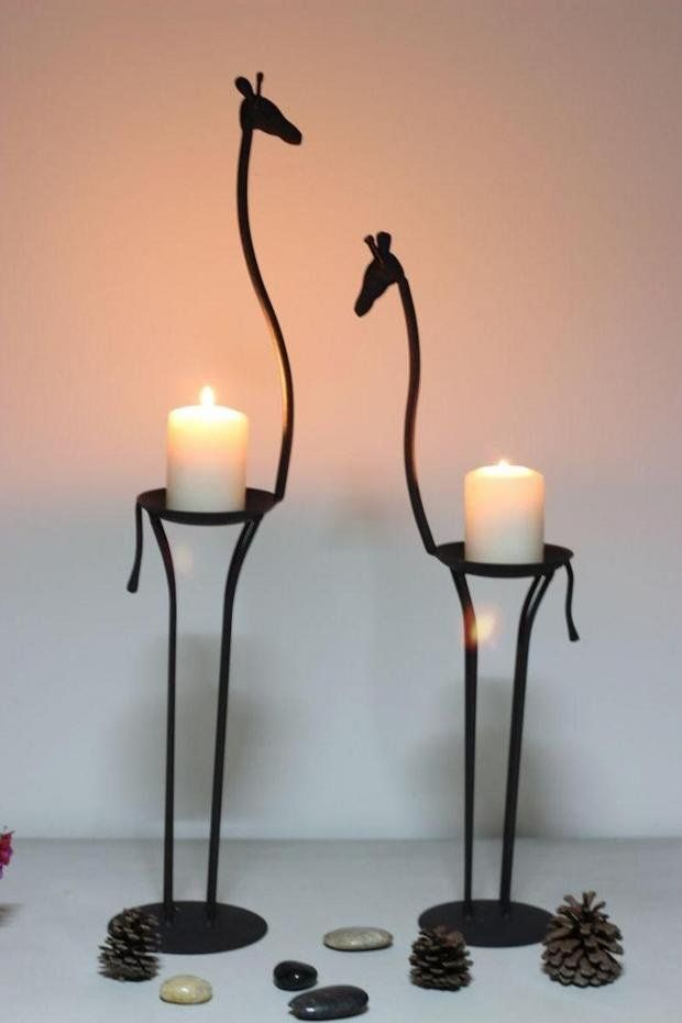 Africa impression, the giraffe, wrought iron candlestick,