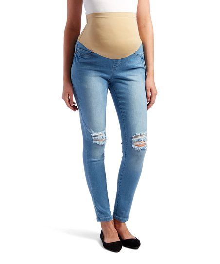 Mom & Co. Dark Powder Distressed Over-Belly Maternity Skinny Jeans | zulily