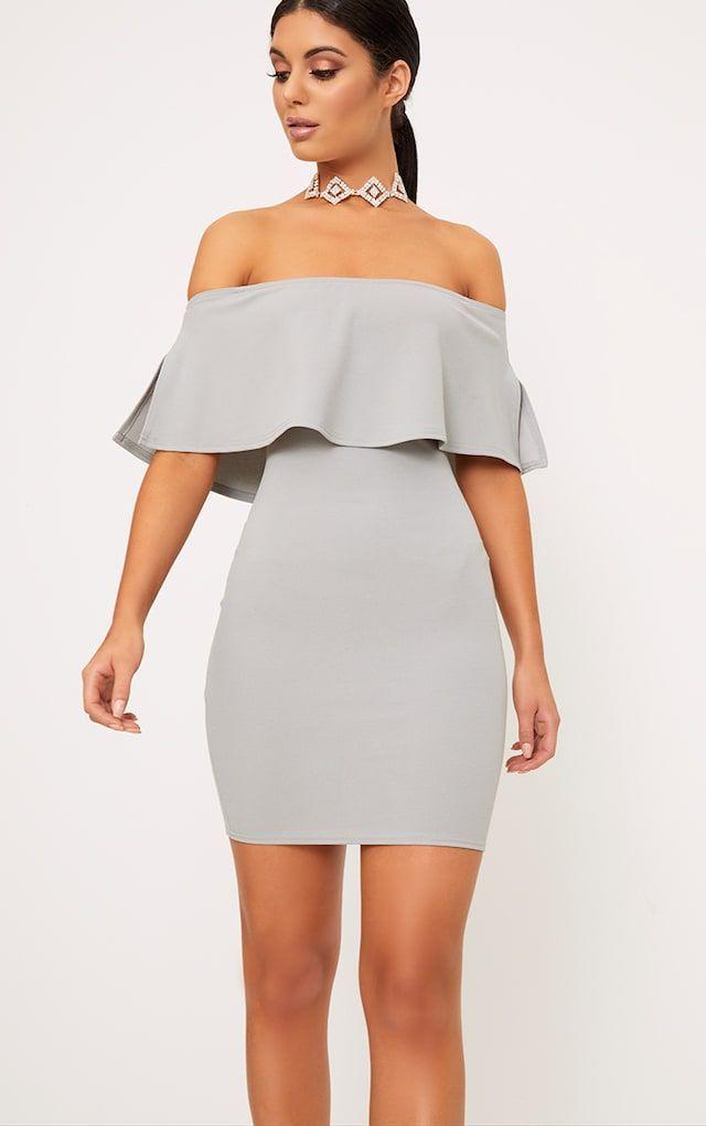 Carley Dove Grey Bardot Frill Bodycon Dress