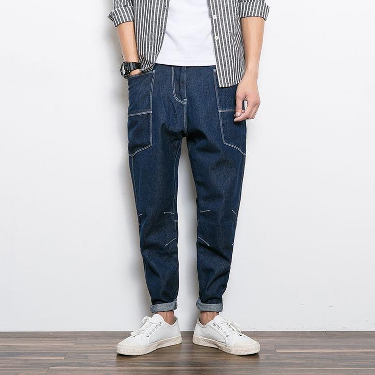 33.14$ (Buy here - https://alitems.com/g/1e8d114494b01f4c715516525dc3e8/?i=5&ulp=https%3A%2F%2Fwww.aliexpress.com%2Fitem%2FMens-hip-hop-casual-harem-jeans-pants-men-loose-hiphop-denim-trousers-japan-style-big-pocket%2F32781630330.html) Mens hip hop casual harem jeans pants men loose hiphop denim trousers japan style big pocket men pencil jeans 3219