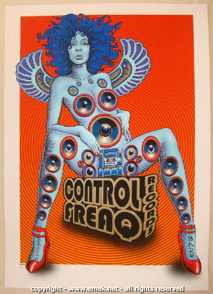 """Erykah Badu - silkscreen concert poster (click image for more detail) Artist: EMEK Venue: n/a Location: n/a Concert Date: 2008 Edition: 450; signed, numbered, and doodled Size: 21 1/8"""" x 29 1/2"""" Condi"""