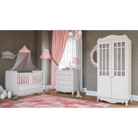 Babi Baby Lia Mini Bebek Odası Takımı.  2 Kapaklı gardırop.  70 x 130 beşik.  Şifonyer.