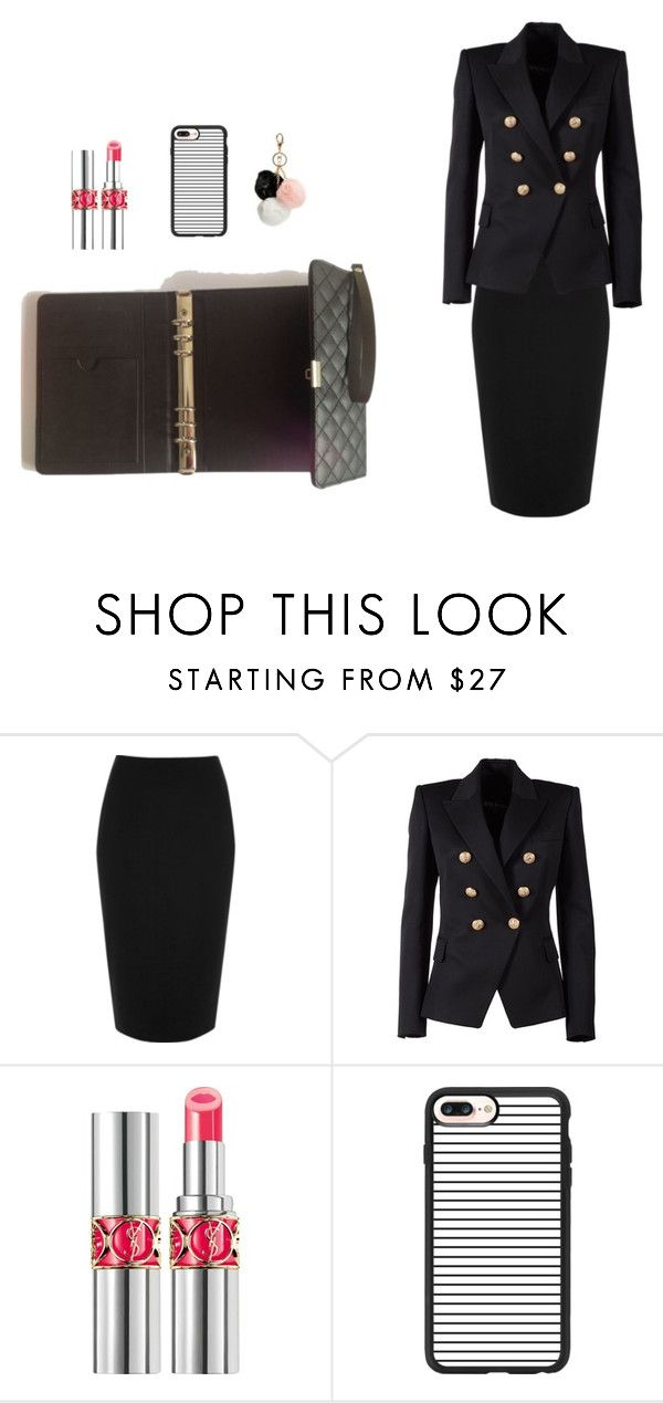 """""""only my organiser"""" by selvisevil on Polyvore featuring moda, River Island, Balmain, Yves Saint Laurent, Casetify ve GUESS"""