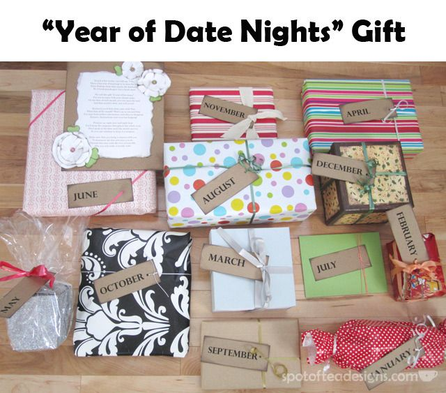 Year of Date Nights Gift = 12 gifts opened all year round! Great alternative for Bridesmaid gift to Bride #wedding | spotofteadesigns.com