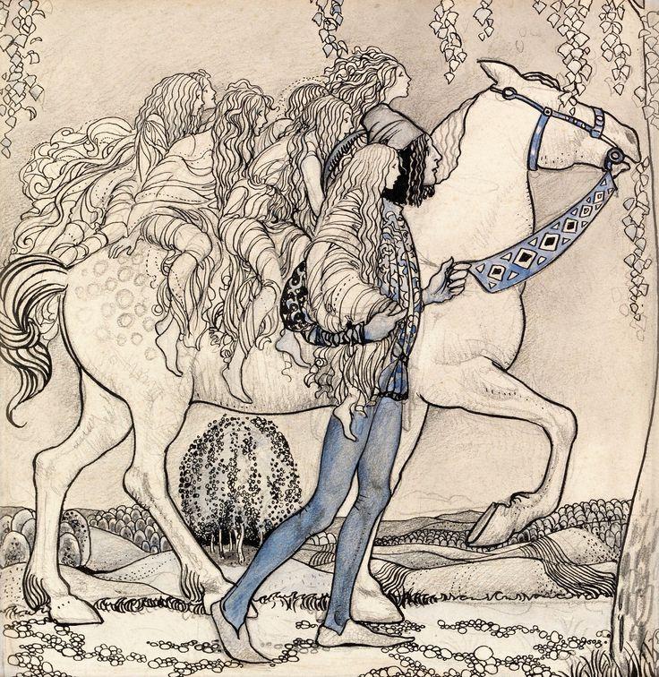 """John Bauer 1882-1918 """"Hästen ledde han vid betslet och på det viset färdades de genom skogen"""". Akvarell, tusch och blyerts 18 x 17 cm."""