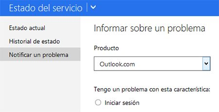 Problemas inicio Sesion Outlook: revisar estado y notificar