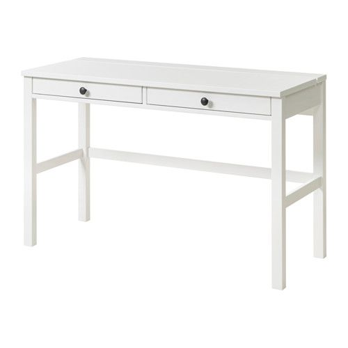 IKEA - HEMNES, Desk with 2 drawers, white stain, , Solid wood is a durable natural material.