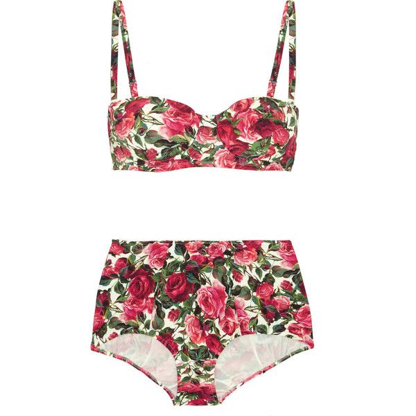 Dolce & Gabbana Floral-print bikini ($530) ❤ liked on Polyvore featuring swimwear, bikinis, pink, swimsuit, fuchsia, underwire bra, floral high waisted bikini, swimsuits bikinis, shelf bra and retro swimsuit