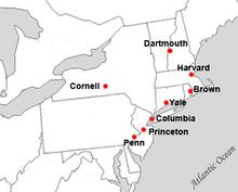Map of Ivy League universities