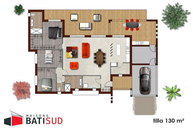 Modèle TILLA - Maisons Bati Sud | Plan maison 100m2, Plan maison, Maison 100m2