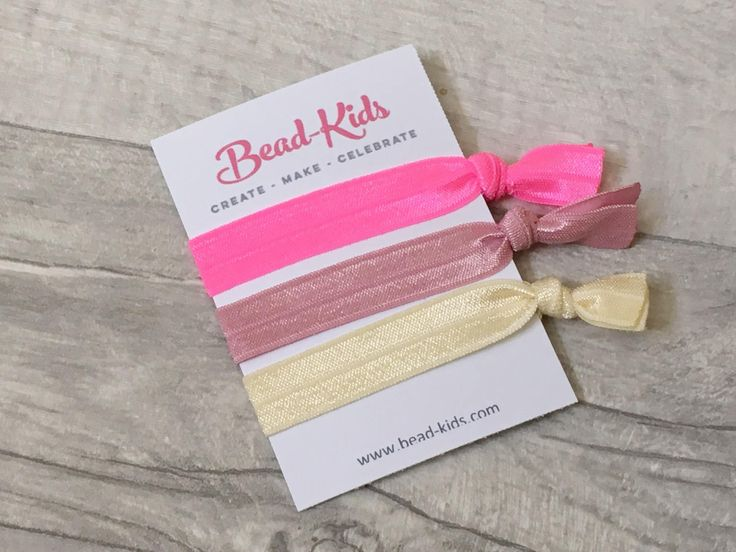 Pink Hair Ties, Elastic Hairbands, Party Bag Fillers, Party Favors, Yoga Bands, Elastic Bracelets, Hairties, Hair Accessories, Creaseless by BeadKids on Etsy